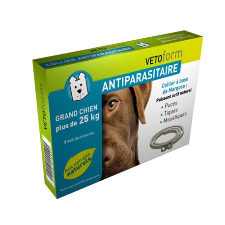 VETOFORM COLLIER GRAND CHIEN ANTIPARASITAIRE +25KG 65 CM