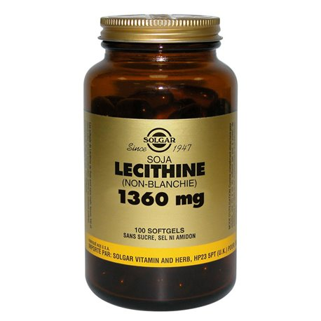 SOLGAR Lecithin (unbleached) Soybeans 1360 mg 100 Softgels