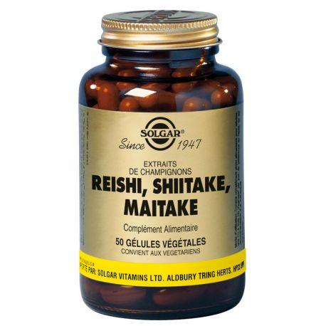 SOLGAR Reishi Shiitake, Cápsulas vegetales Maitake-50