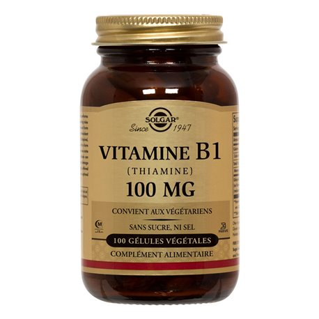 SOLGAR Thiamine Vitamin B1 100 mg 100 Vegetable Capsules