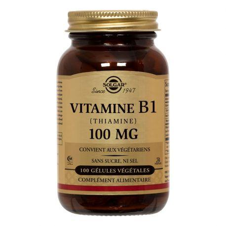 Solgar Vitamine B1 Thiamine 100 mg 100 Plantaardige Capsules