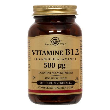 SOLGAR ciano vitamina B12 (cobalamina) 500 mcg 50 Cápsulas vegetales