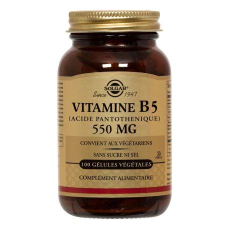 B5 ácido pantoténico Vitamina SOLGAR 550 mg 50 Cápsulas vegetales