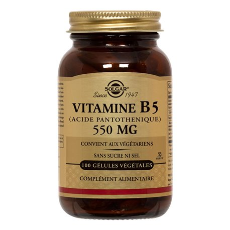 SOLGAR Vitamin B5 Pantothenic Acid 550 mg 50 Vegetable Capsules