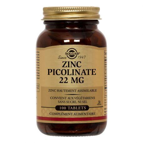 SOLGAR Zinc Picolinate 22 mg 100 Comprimés