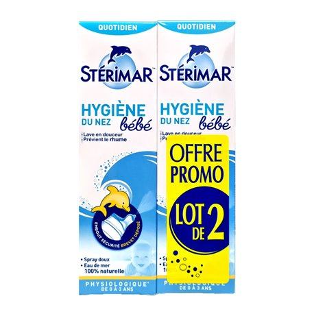 STERIMAR BEBE SPRAY NASAL EAU DE MER 100 ML LOT DE 2