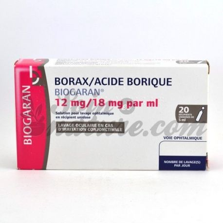 BORAX ACIDE BORIQUE BIOGARAN SOLUTION OPHTALMIQUE 5MLX20