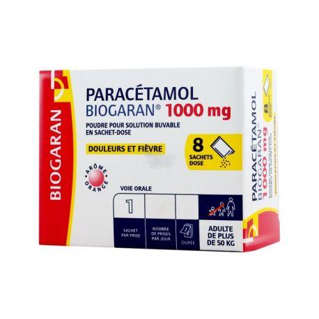 1000 mg de paracetamol BIOGARAN 8 BOLSAS