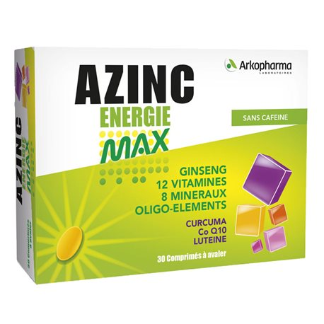 AZINC MAX ENERGY CAFFEINE - 30 Tablets