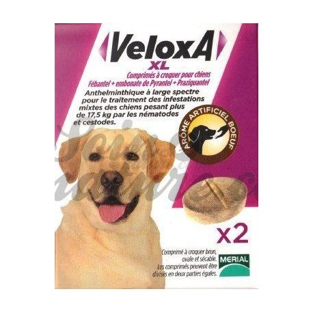 VELOXA XL VERMIFUGE CHIEN 2 CPR A CROQUER MERIAL