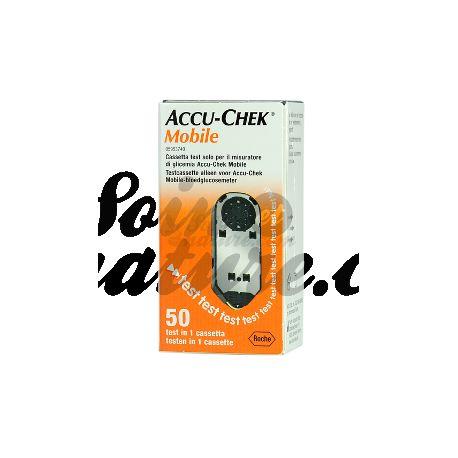 Accu-Chek de monitoreo de glucosa en sangre MÓVIL 2 casetes (100 pruebas)