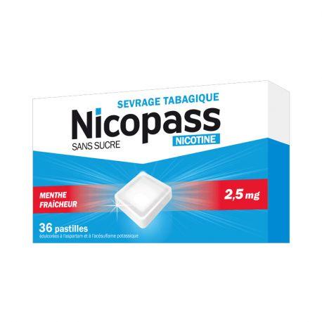 NICOPASS 2,5MG SANS SUCRE MENTHE 36 PASTILLES