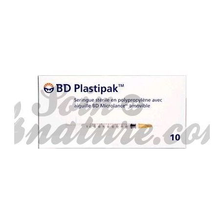 BD PLASTIPAK 10 SERINGUES STÉRILES 5ML - 40MM - 0.8MM