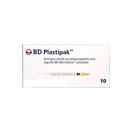 BD PLASTIPAK 10 SERINGUES STÉRILES 10ML - 40MM - 0.8MM