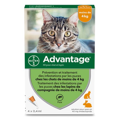 ADVANTAGE 40 CHAT LAPIN BAYER MOINS DE 4 kg 4 PIPETTES DE 0.4 ML