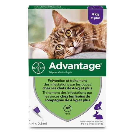 ADVANTAGE 80 CHAT LAPIN BAYER MOINS DE 4 kg 4 PIPETTES DE 0.8 ML