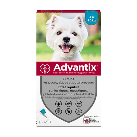 ADVANTIX PETIT CHIEN BAYER 6 PIPETTES DE 1ML