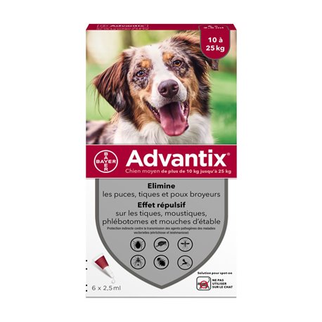 BAYER ADVANTIX cão de médio 6 PIPETTES 2,5 ML