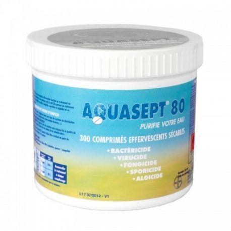 300 comprimidos ESPUMANTE TRATAMENTO DE ÁGUA AQUASEPT 80 BAYER
