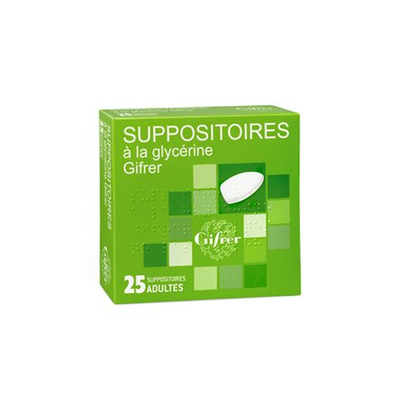 GLYCERINE GIFRER 25 SUPPOSITOIRES ADULTE