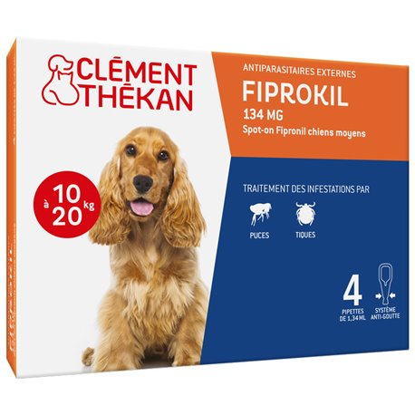 CLEMENT THEKAN FIPROKIL 134MG SPOT ON CHIEN MOYEN 4 PIPETTES