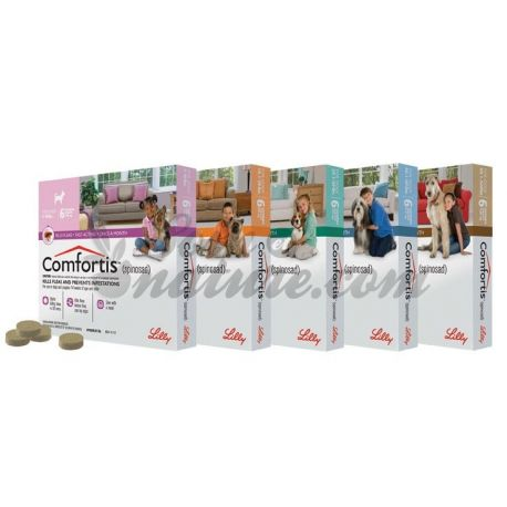 Comfortis 140 mg chewable tablets for dogs and chips anti 2-3kg cats