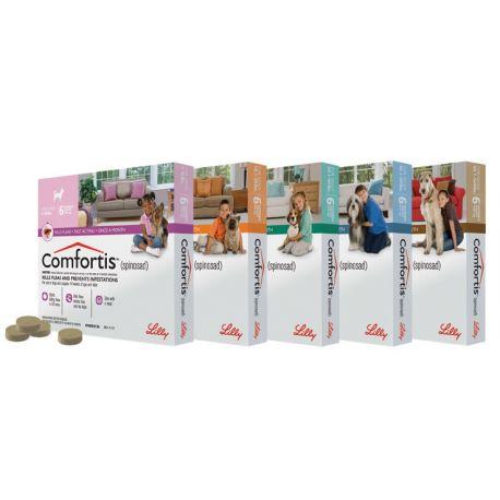 Comfortis 270 mg comprimidos mastigáveis para cães e gatos fichas anti 3-6kg