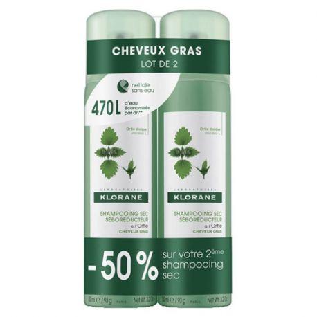 KLORANE shampooing sec à l'ortie Lot 2 sprays de 150ML