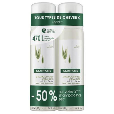 Klorane champú seco de avena Leche Lote 2 pulverizaciones 150ML
