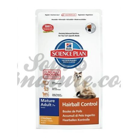 HILL'S SCIENCE PLAN FELINE MATURE (+ 7 ans) HAIRBALL CONTROL POULET sac 1,5 kg