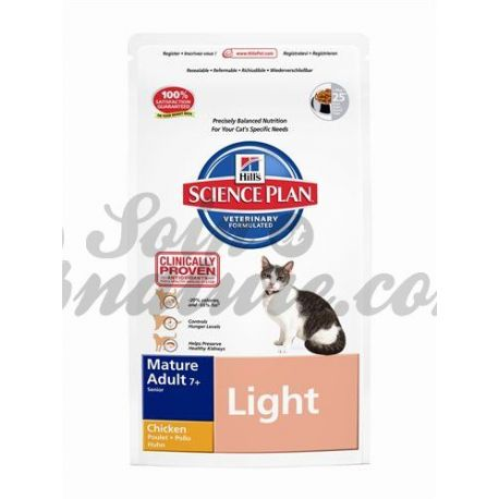 HILL'S SCIENCE PLAN FELINE MATURE (+ 7 ans) LIGHT POULET sac 1,5 kg