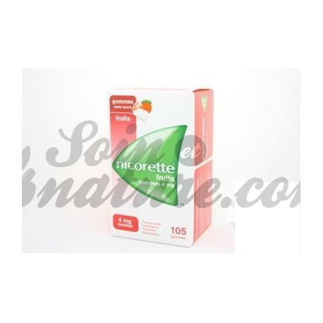 NICORETTE 4MG 105 GOMMES FRUITS SANS SUCRE