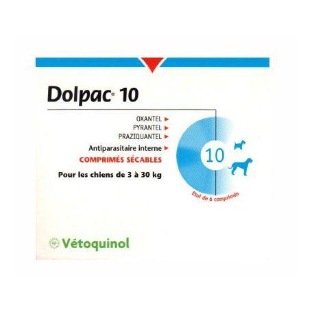 DOLPAC Vermifuge chien 10 kg 6 comprimés
