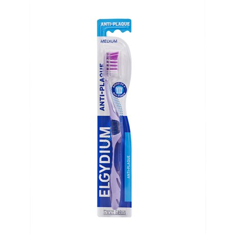 ELGYDIUM Brosse à Dents ANTI PLAQUE MEDIUM
