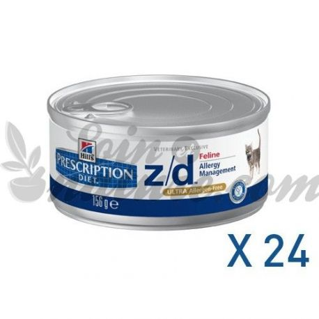 HILL'S SCIENCE PLAN PRESCRIPTION DIET FELINE Z/D ULTRA ALLERGEN 24 boîtes de 156 g