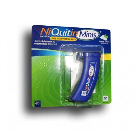 NiQuitin MINIS HORTELÃ FRESCA 1,5 mg livre de açúcar 20 COMPRIMIDOS