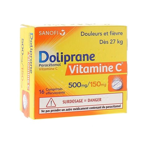 Doliprane VITAMIN C 500MG / 150MG TABLETS 16 EFFERVECENTS