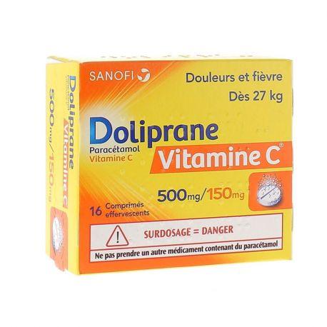 Doliprane vitamine C 500MG / 150 mg tabletten 16 EFFERVECENTS