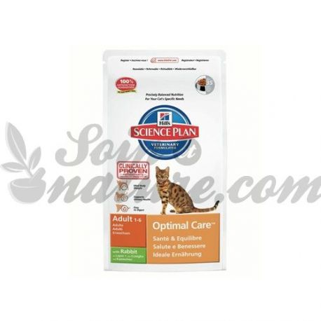 HILL'S SCIENCE PLAN FELINE ADULT OPTIMAL CARE LAPIN sac 2 kg