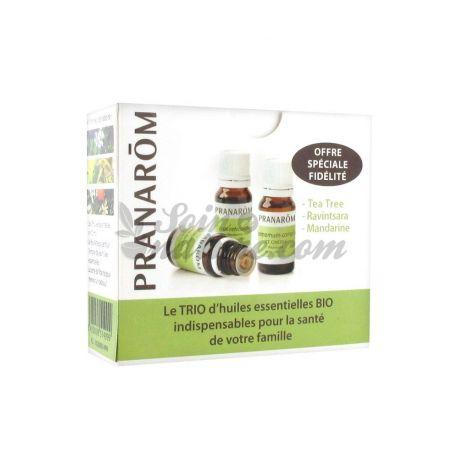 Trio van biologische etherische oliën Tea tree / Ravintsara / mandarijn PRANAROM
