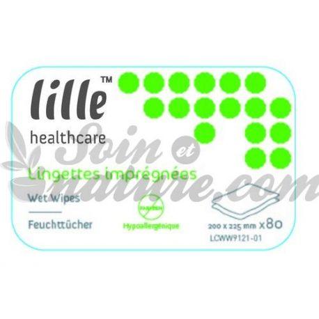 Lingettes corporelles imprégnées lille healthcare 200 x 225mm paquet de 80