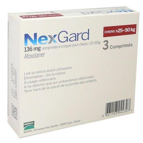 25-50kg NEXGARD Afoxolaner perro 136 mg