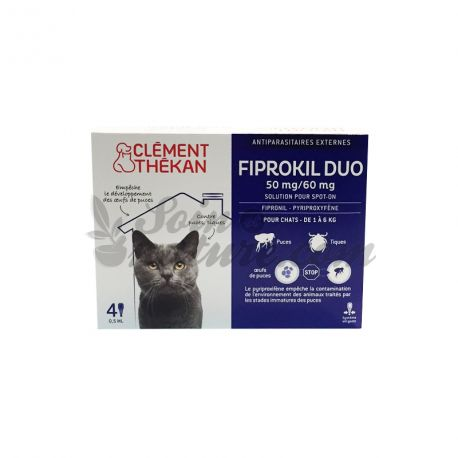 Fiprokil Duo Chat 4 Pipettes Anti Puces