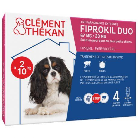 Fiprokil Duo Petit Chiens 2 à 10kg 4 Pipettes Clément Thekan