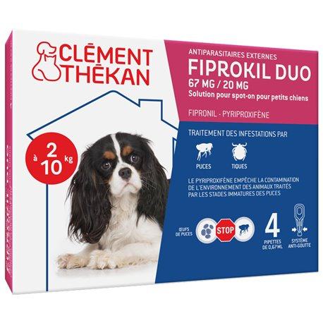 Fiprokil Duo Small Dogs 2 to 10kg 4 pipettes Clement Thekan