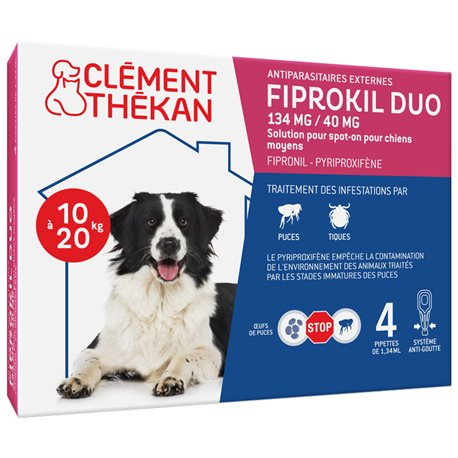 Fiprokil Middle Duo Dog Dog 4 Pipettes Clement Thekan