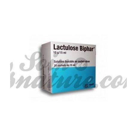 LACTULOSE BIPHAR 10 g / 15 ml Suspension zum Einnehmen Dosis Taschen Taschen / 20