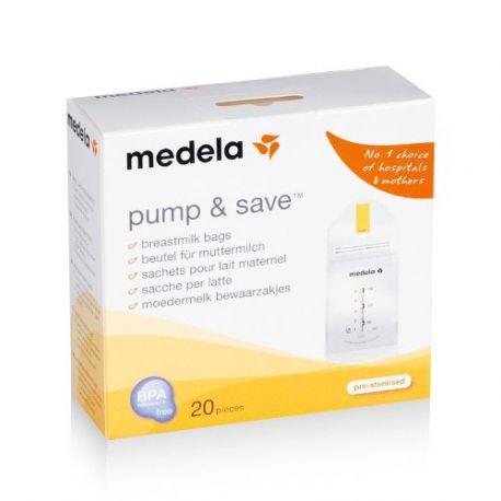 Medela Pump & Save 20 sachets pour Lait maternel 150 ml