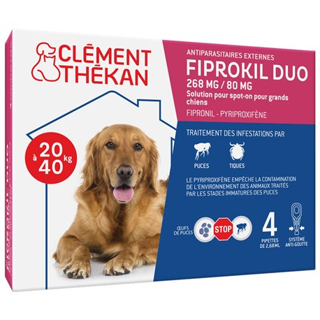 CLEMENT THEKAN FIPROKIL DUO GRAND CHIEN 4 PIPETTES