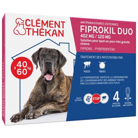 Fiprokil Duo Très Grand Chien 40 à 60 kg 4 Pipettes Clément Thekan